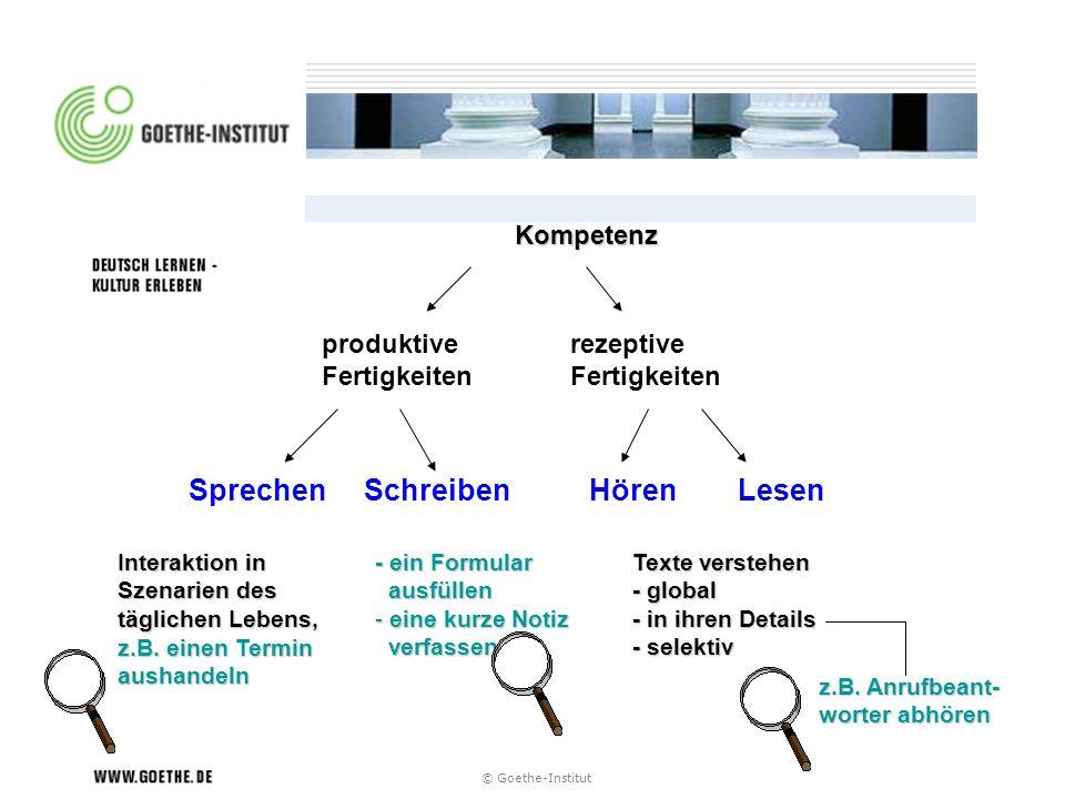 © Goethe-Institut Kompetenz produktive Fertigkeiten rezeptive Fertigkeiten Sprechen Schreiben Hören Lesen Texte verstehen - global - in ihren Details