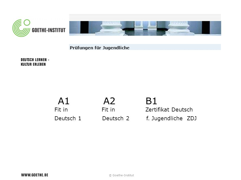 © Goethe-Institut Hintergrund Zertifikat Deutsch – B1 ab 1968 (ZDaF) Start Deutsch A1/A2 ab 2004 Fit in Deutsch A1 /A2 ab 2000