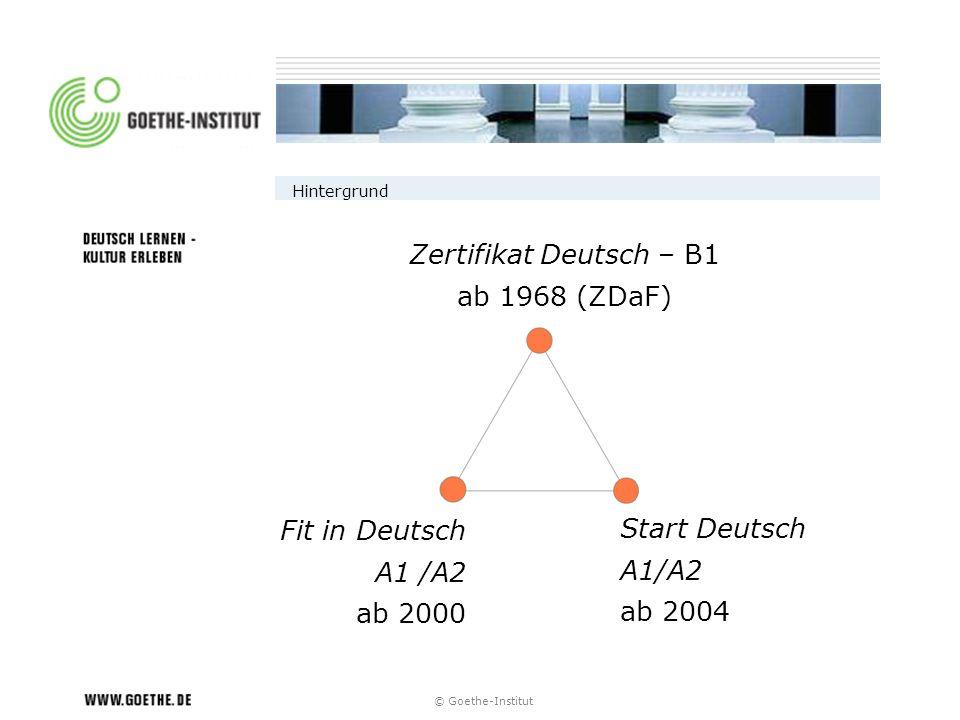 © Goethe-Institut Hintergrund Zertifikat Deutsch – B1 ab 1968 (ZDaF) Start Deutsch A1/A2 ab 2004 Fit in Deutsch A1 /A2 ab 2000