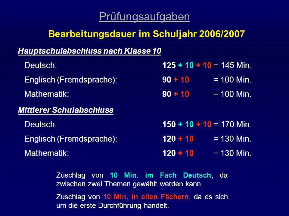 Prüfungsaufgaben Bearbeitungsdauer im Schuljahr 2006/2007 Hauptschulabschluss nach Klasse 10 Deutsch:125 + 10 + 10 = 145 Min. Englisch (Fremdsprache):