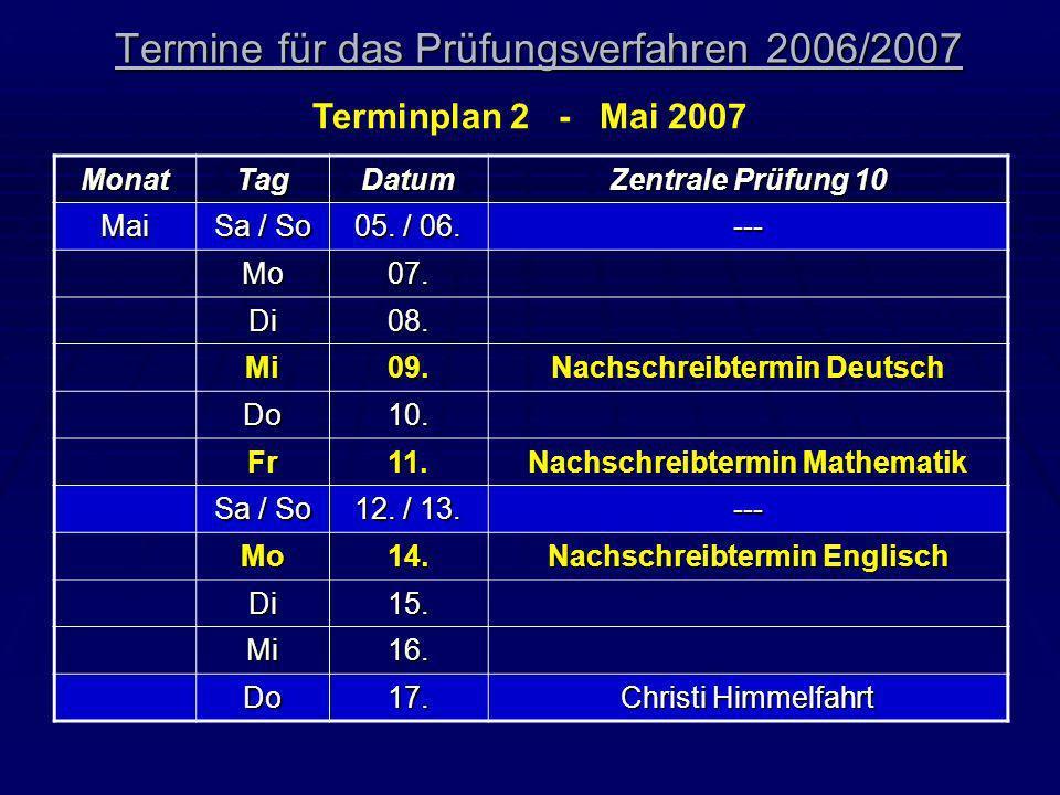 Termine für das Prüfungsverfahren 2006/2007 Terminplan 2 - Mai 2007 MonatTagDatum Zentrale Prüfung 10 Mai Sa / So 05. / 06. --- Mo07. Di08. Mi09. Nach