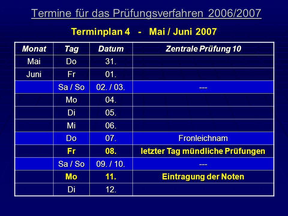 Termine für das Prüfungsverfahren 2006/2007 Terminplan 4 - Mai / Juni 2007 MonatTagDatum Zentrale Prüfung 10 MaiDo31. JuniFr01. Sa / So 02. / 03. ---