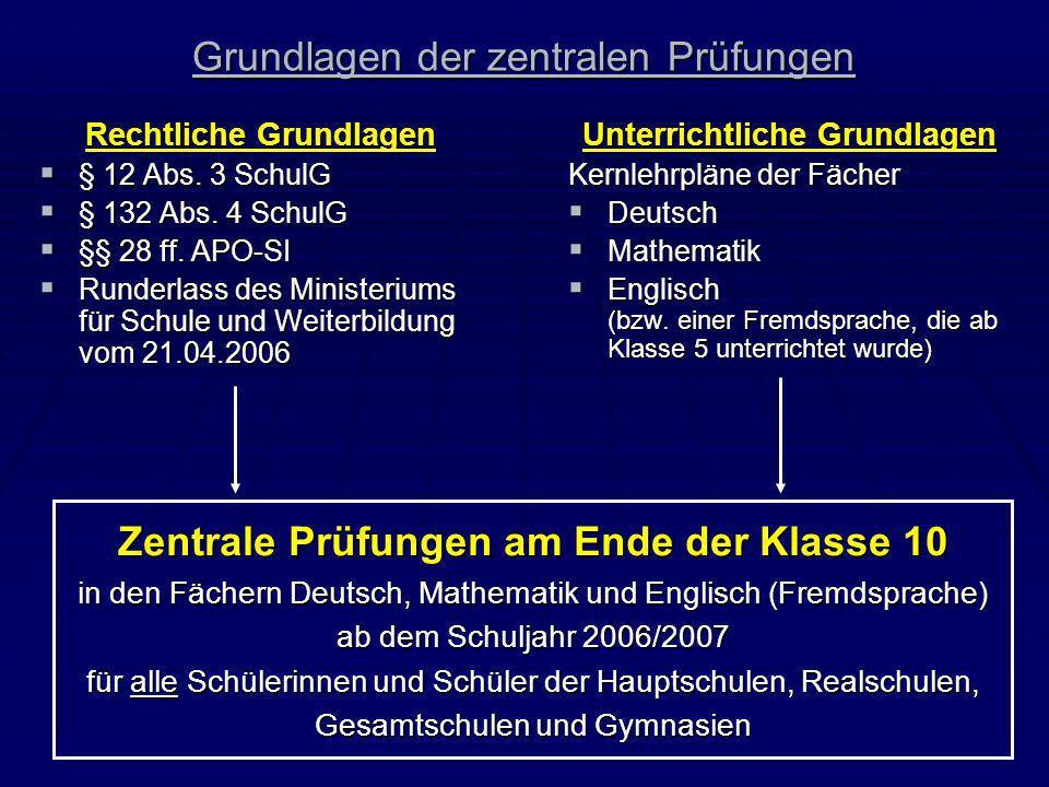 Grundlagen der zentralen Prüfungen Rechtliche Grundlagen § 12 Abs. 3 SchulG § 12 Abs. 3 SchulG § 132 Abs. 4 SchulG § 132 Abs. 4 SchulG §§ 28 ff. APO-S