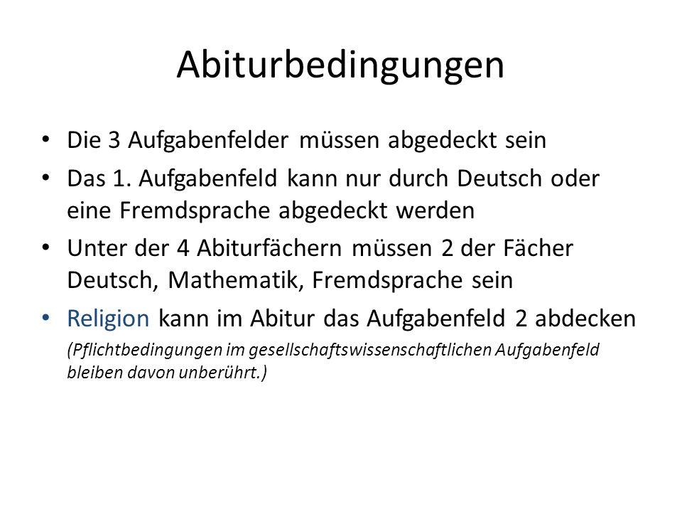 Abiturbedingungen Die 3 Aufgabenfelder müssen abgedeckt sein Das 1. Aufgabenfeld kann nur durch Deutsch oder eine Fremdsprache abgedeckt werden Unter
