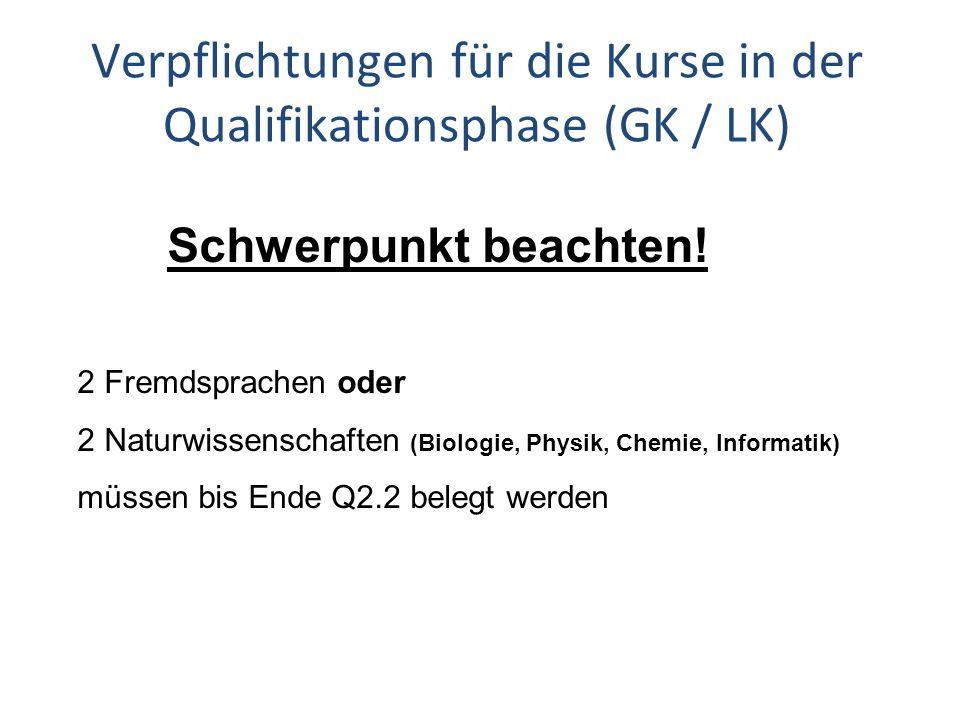 Schwerpunkt beachten! Verpflichtungen für die Kurse in der Qualifikationsphase (GK / LK) 2 Fremdsprachen oder 2 Naturwissenschaften (Biologie, Physik,