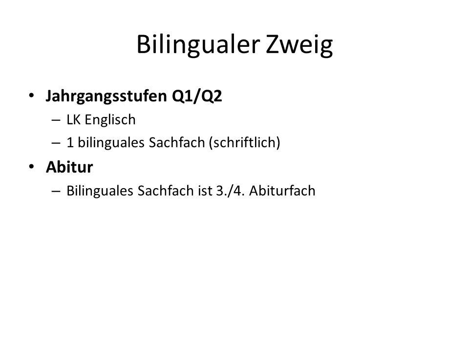 Bilingualer Zweig Jahrgangsstufen Q1/Q2 – LK Englisch – 1 bilinguales Sachfach (schriftlich) Abitur – Bilinguales Sachfach ist 3./4. Abiturfach