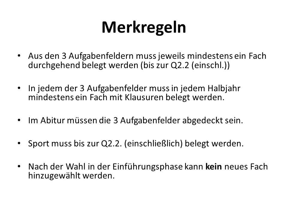 Merkregeln Aus den 3 Aufgabenfeldern muss jeweils mindestens ein Fach durchgehend belegt werden (bis zur Q2.2 (einschl.)) In jedem der 3 Aufgabenfelde