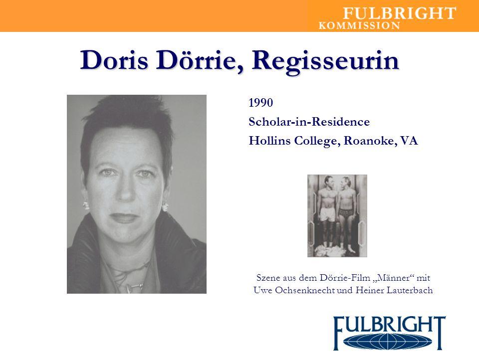 Doris Dörrie, Regisseurin 1990 Scholar-in-Residence Hollins College, Roanoke, VA Szene aus dem Dörrie-Film Männer mit Uwe Ochsenknecht und Heiner Laut
