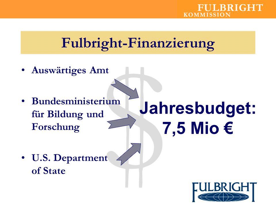 $ Auswärtiges Amt Bundesministerium für Bildung und Forschung U.S. Department of State Jahresbudget: 7,5 Mio Fulbright-Finanzierung
