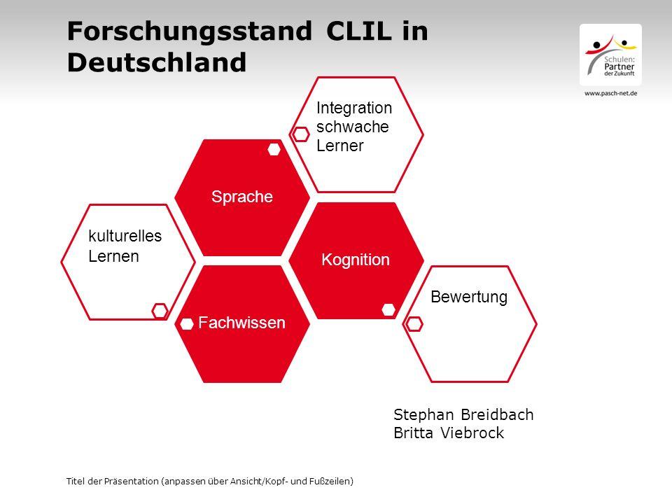 Forschungsstand CLIL in Deutschland Fachwissen kulturelles Lernen Kognition Bewertung Sprache Integration schwache Lerner Titel der Präsentation (anpa