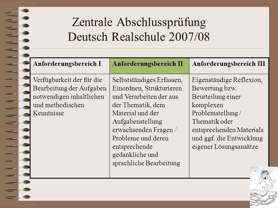 Zentrale Abschlussprüfung Deutsch Realschule 2007/08 Anforderungsbereich IAnforderungsbereich IIAnforderungsbereich III Verfügbarkeit der für die Bear