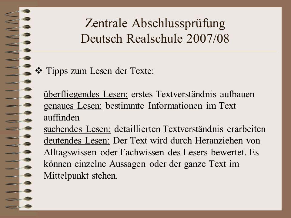 Tipps zum Lesen der Texte: überfliegendes Lesen: erstes Textverständnis aufbauen genaues Lesen: bestimmte Informationen im Text auffinden suchendes Le