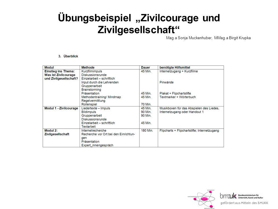 gefördert aus Mitteln des BMUKK Übungsbeispiel Zivilcourage und Zivilgesellschaft Mag.a Sonja Muckenhuber, MMag.a Birgit Krupka