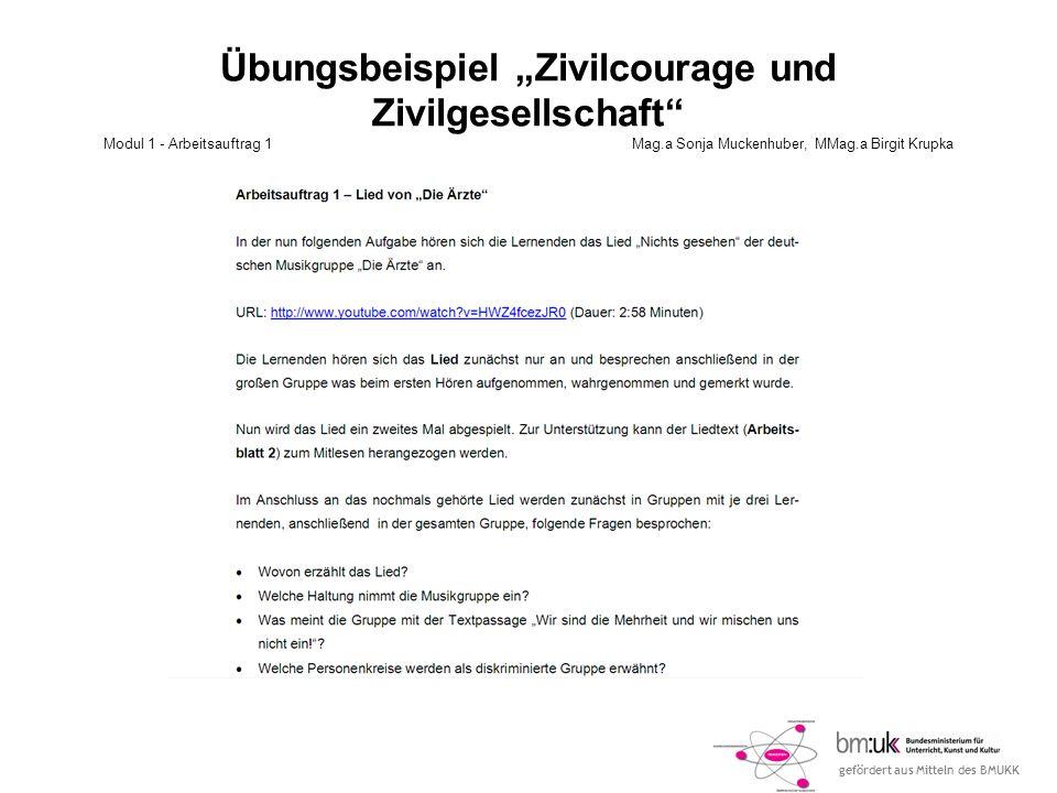 gefördert aus Mitteln des BMUKK Übungsbeispiel Zivilcourage und Zivilgesellschaft Modul 1 - Arbeitsauftrag 1 Mag.a Sonja Muckenhuber, MMag.a Birgit Kr