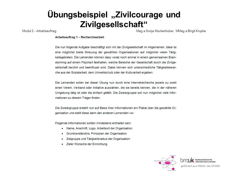 gefördert aus Mitteln des BMUKK Übungsbeispiel Zivilcourage und Zivilgesellschaft Modul 2 - ArbeitsauftragMag.a Sonja Muckenhuber, MMag.a Birgit Krupk