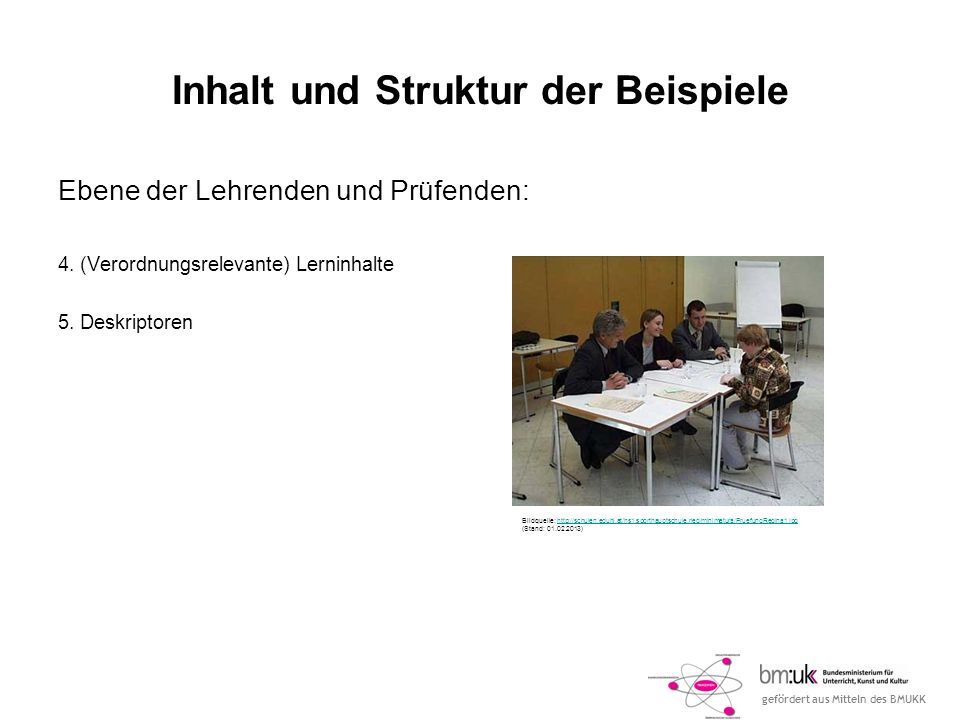 gefördert aus Mitteln des BMUKK Inhalt und Struktur der Beispiele Ebene der Lehrenden und Prüfenden: 4. (Verordnungsrelevante) Lerninhalte 5. Deskript