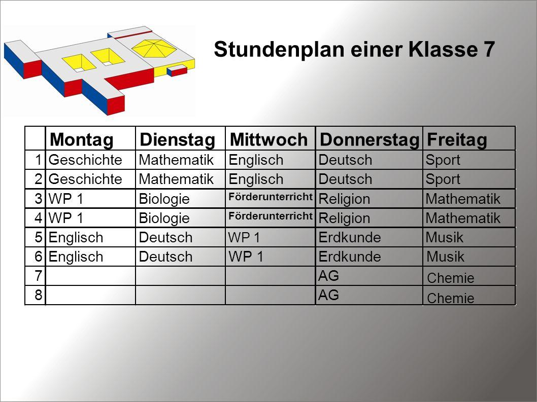 Stundenplan einer Klasse 7 WP 1 Chemie
