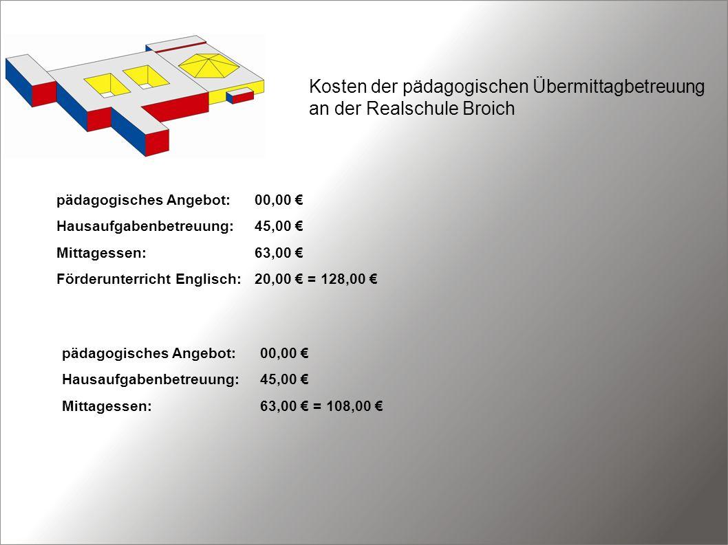 Kosten der pädagogischen Übermittagbetreuung an der Realschule Broich pädagogisches Angebot:00,00 Hausaufgabenbetreuung:45,00 Mittagessen:63,00 Förder