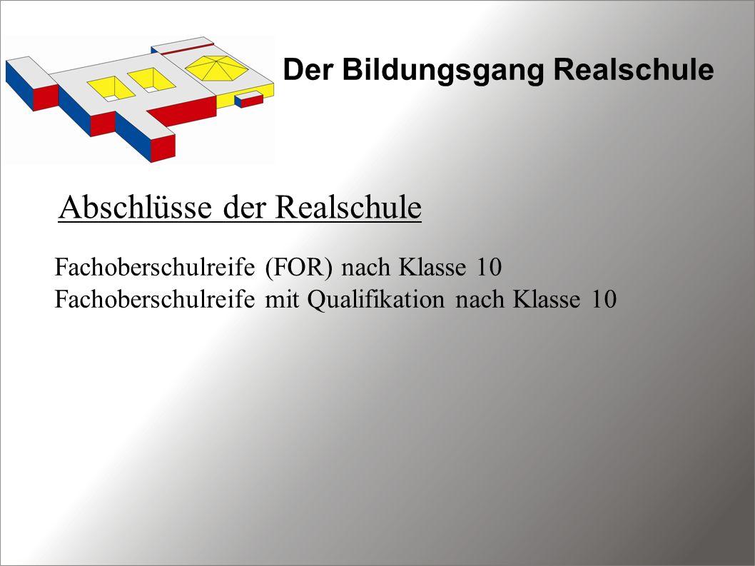 Der Bildungsgang Realschule Abschlüsse der Realschule Fachoberschulreife (FOR) nach Klasse 10 Fachoberschulreife mit Qualifikation nach Klasse 10