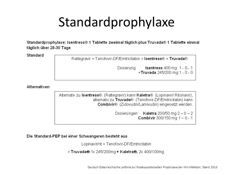 Standardprophylaxe Deutsch-Österreichische Leitlinie zur Postexpositionellen Prophylaxe der HIV-Infektion; Stand 2013