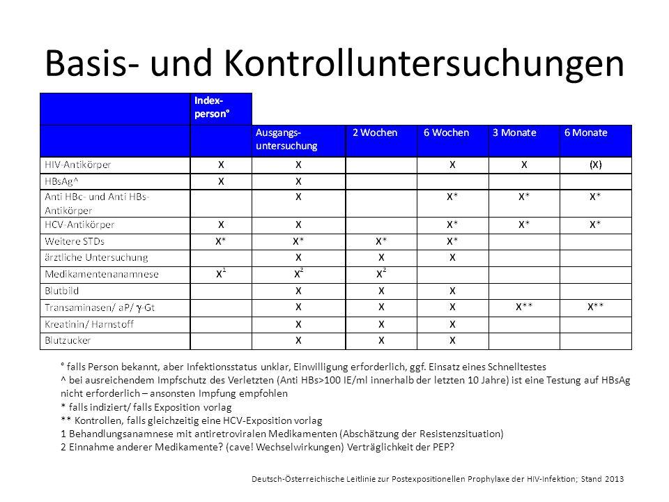 Basis- und Kontrolluntersuchungen ° falls Person bekannt, aber Infektionsstatus unklar, Einwilligung erforderlich, ggf.