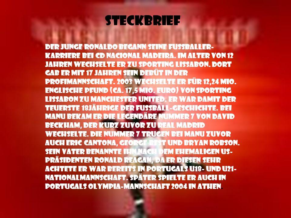 Steckbrief Der junge Ronaldo begann seine Fußballer- Karriere bei CD Nacional Madeira.