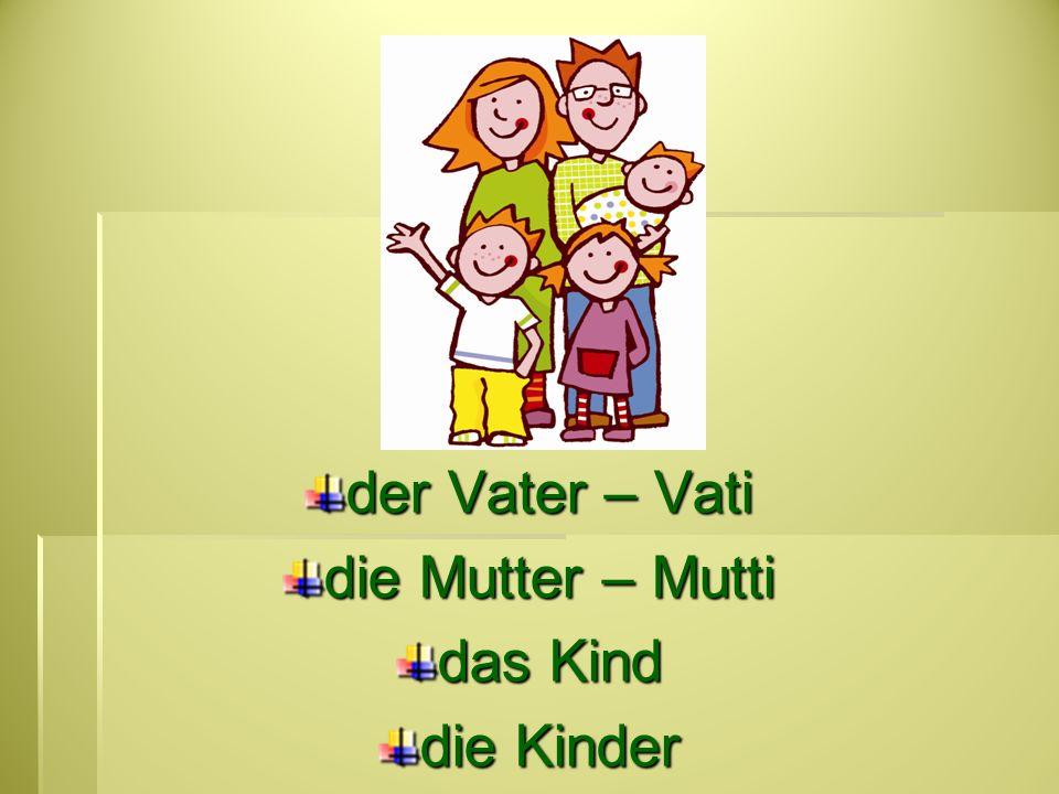 der Vater – Vati die Mutter – Mutti das Kind die Kinder