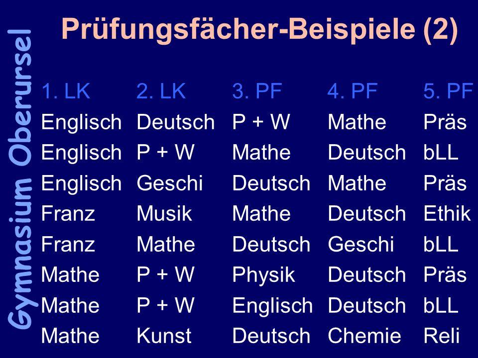 Prüfungsfächer-Beispiele (2) 1. LK2. LK3. PF4. PF5.