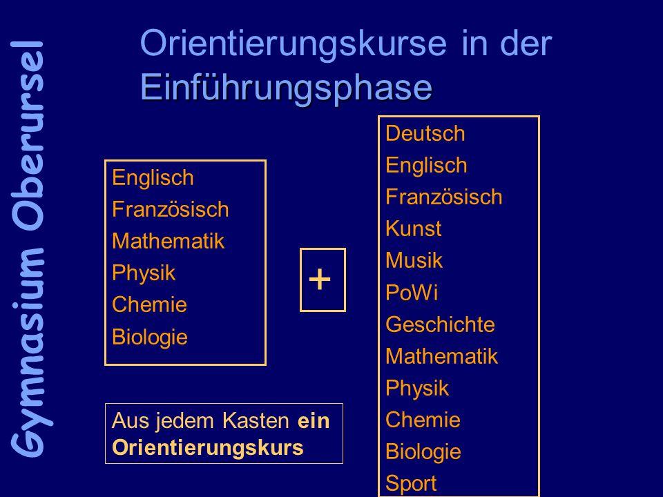 Einführungsphase Orientierungskurse in der Einführungsphase Englisch Französisch Mathematik Physik Chemie Biologie Gymnasium Oberursel Deutsch Englisc