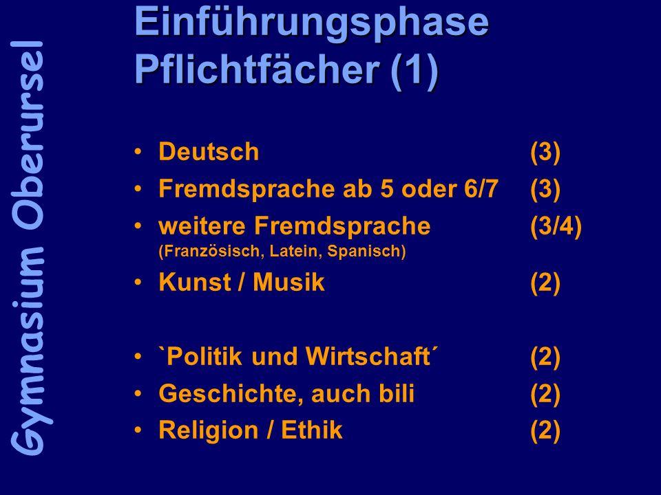 Einführungsphase Pflichtfächer (1) Deutsch(3) Fremdsprache ab 5 oder 6/7(3) weitere Fremdsprache(3/4) (Französisch, Latein, Spanisch) Kunst / Musik(2)