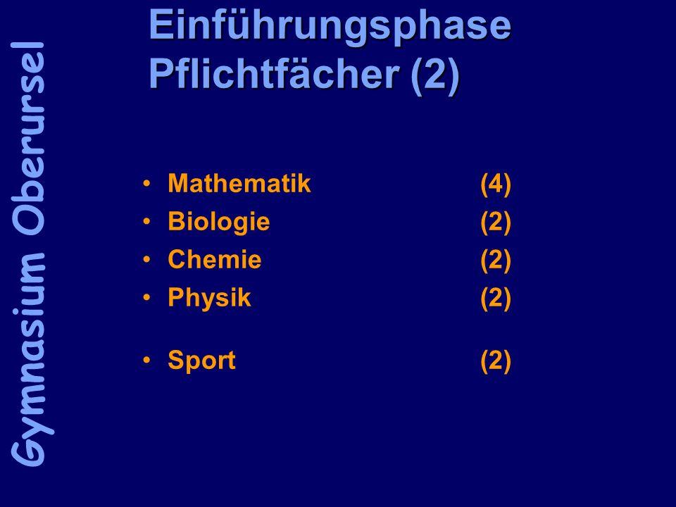 Einführungsphase Pflichtfächer (2) Mathematik (4) Biologie (2) Chemie(2) Physik(2) Sport(2) Gymnasium Oberursel