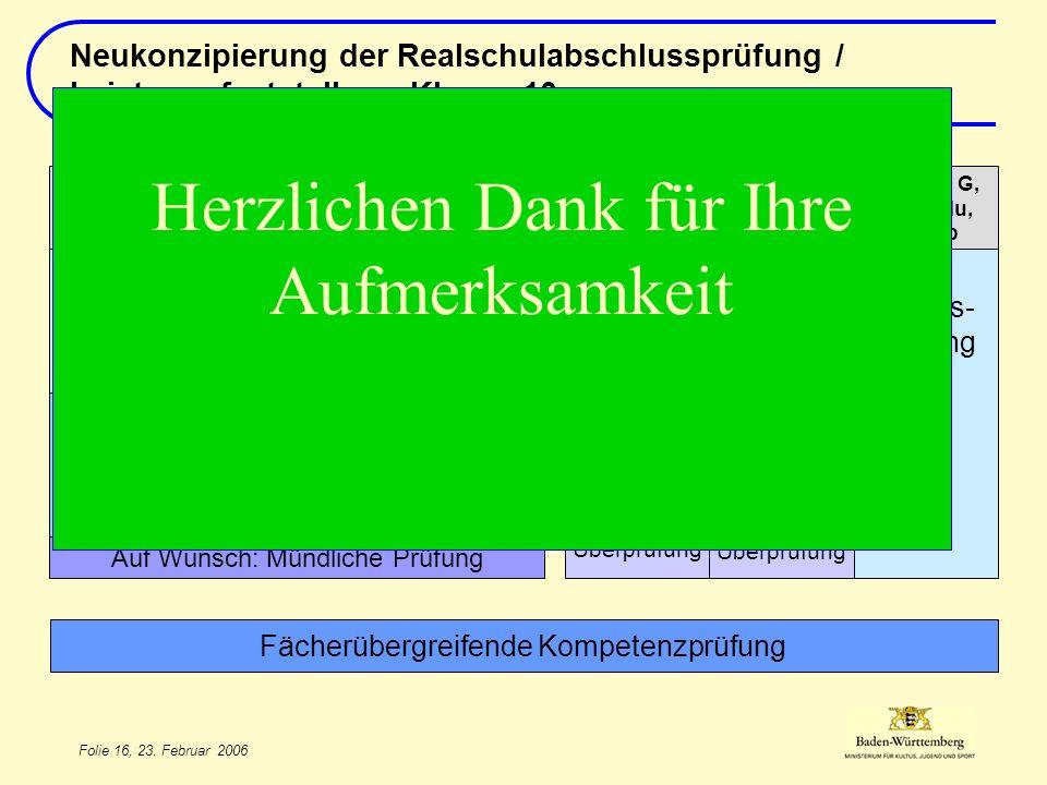 Folie 16, 23. Februar 2006 T/ MUM/ 2. FS Auf Wunsch: Mündliche Prüfung Jahres- leistung 2 Rel, Eth, G, EWG, Mu, BK, Sp Jahres- leistung Deutsch Jahres