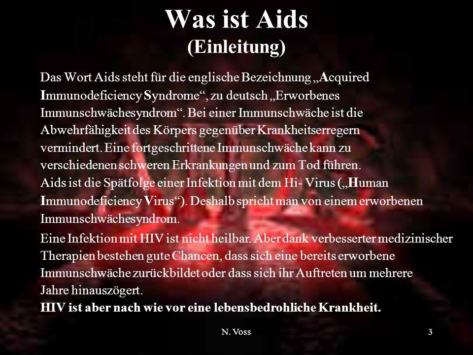 N. Voss2 Inhaltsverzeichnis Was ist Aids? (Einleitung) Woher kommt das HI- Virus? Wie wird HIV übertragen? Wo bestehen Ansteckungsgefahren? Die Ausbre