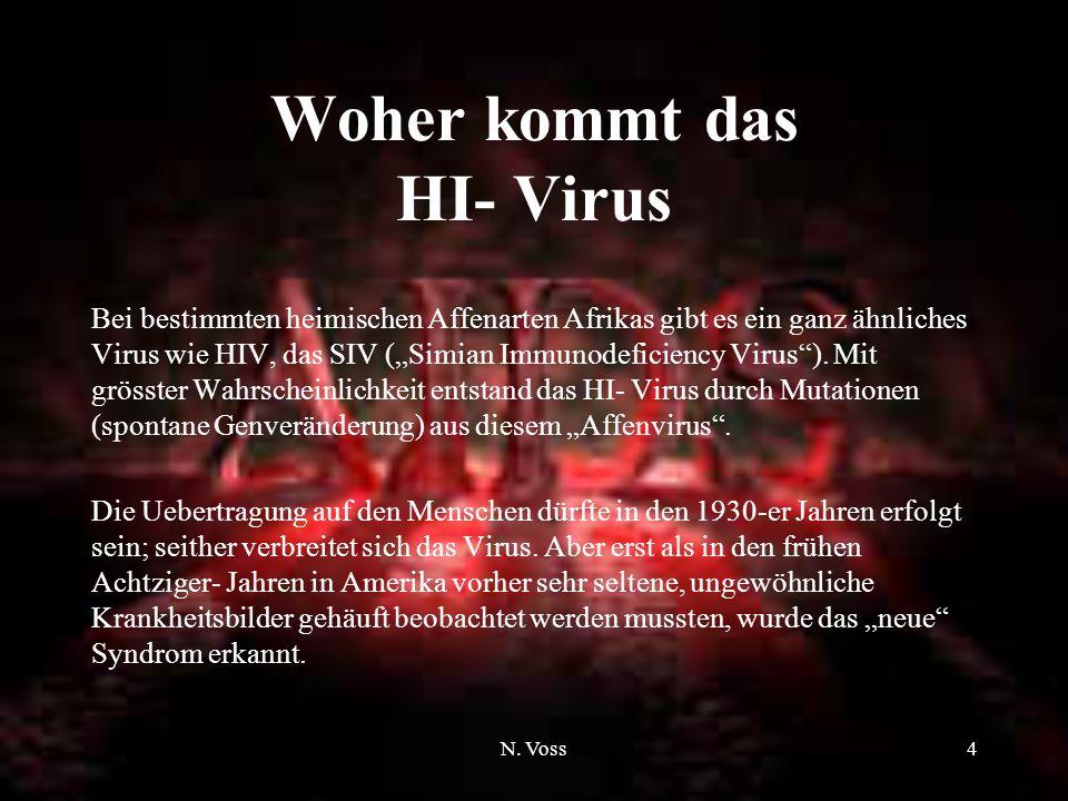 N. Voss3 Was ist Aids (Einleitung) Das Wort Aids steht für die englische Bezeichnung A cquired I mmunodeficiency S yndrome, zu deutsch Erworbenes Immu