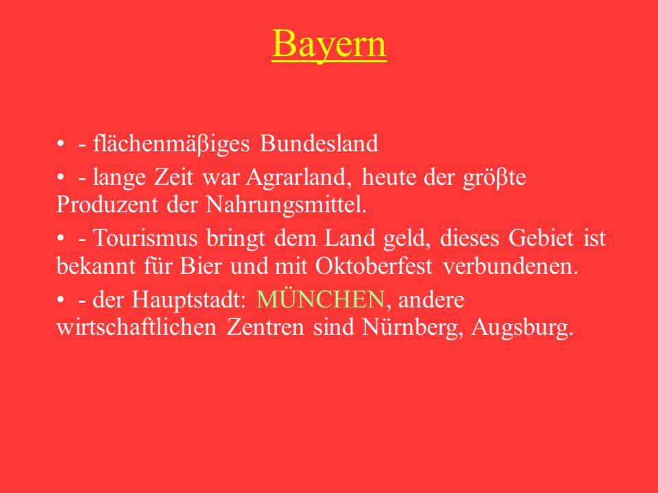 Niedersachsen - nach Bayern das zweite gröβte Bundesland - zwei Drittel der Fläche sind Agrarland - die Industrie des Landes konzentriert sich im Raum Hannover- Braunschweig - jährliche Industriemesse, die in Hannover statt findet, ist die gröβte der Welt.