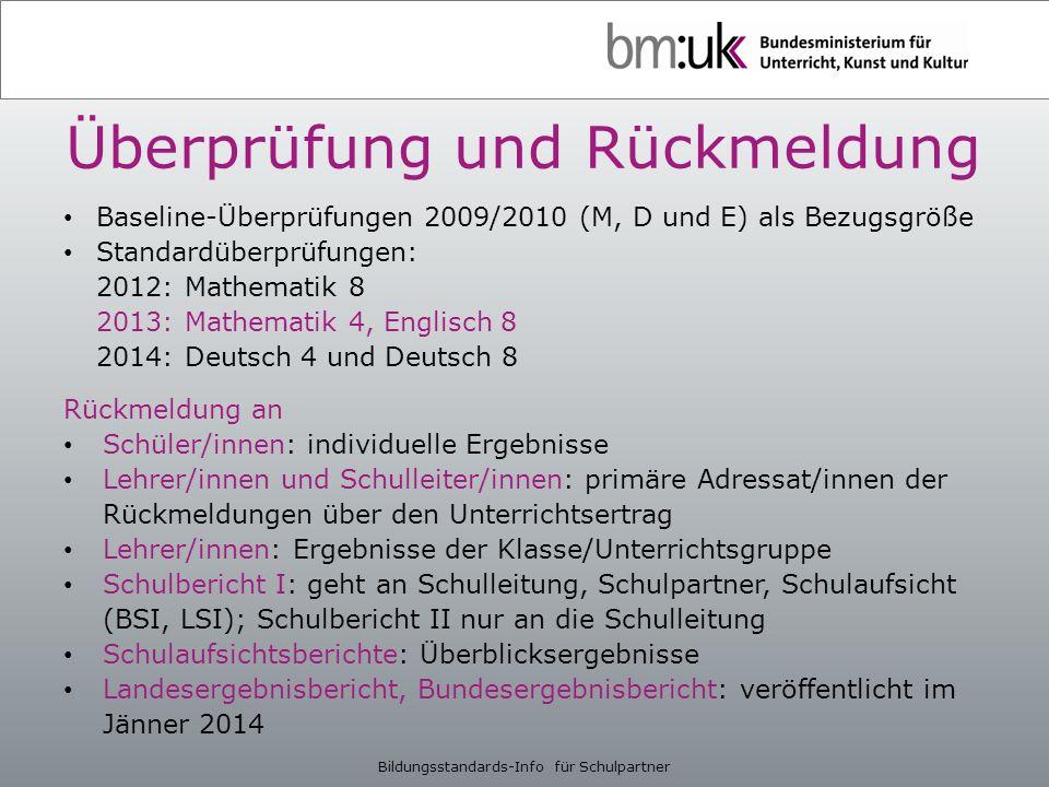 Überprüfung und Rückmeldung Baseline-Überprüfungen 2009/2010 (M, D und E) als Bezugsgröße Standardüberprüfungen: 2012: Mathematik 8 2013: Mathematik 4