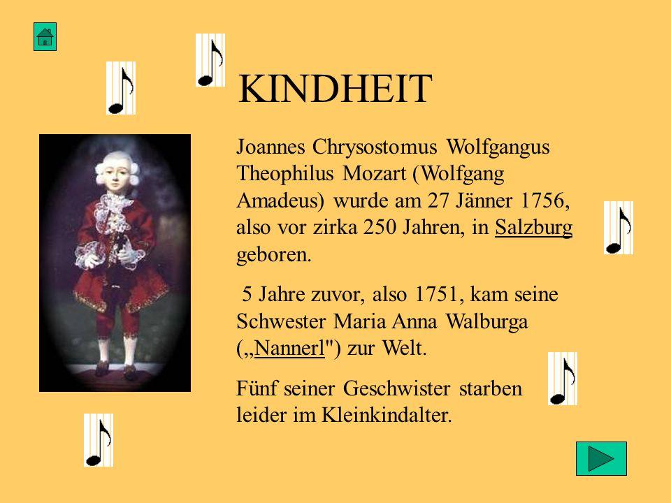 KINDHEIT Joannes Chrysostomus Wolfgangus Theophilus Mozart (Wolfgang Amadeus) wurde am 27 Jänner 1756, also vor zirka 250 Jahren, in Salzburg geboren.
