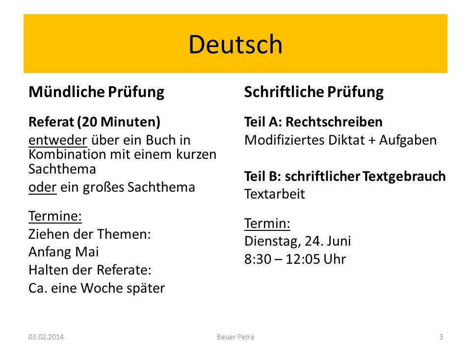 Deutsch Mündliche Prüfung Referat (20 Minuten) entweder über ein Buch in Kombination mit einem kurzen Sachthema oder ein großes Sachthema Termine: Ziehen der Themen: Anfang Mai Halten der Referate: Ca.