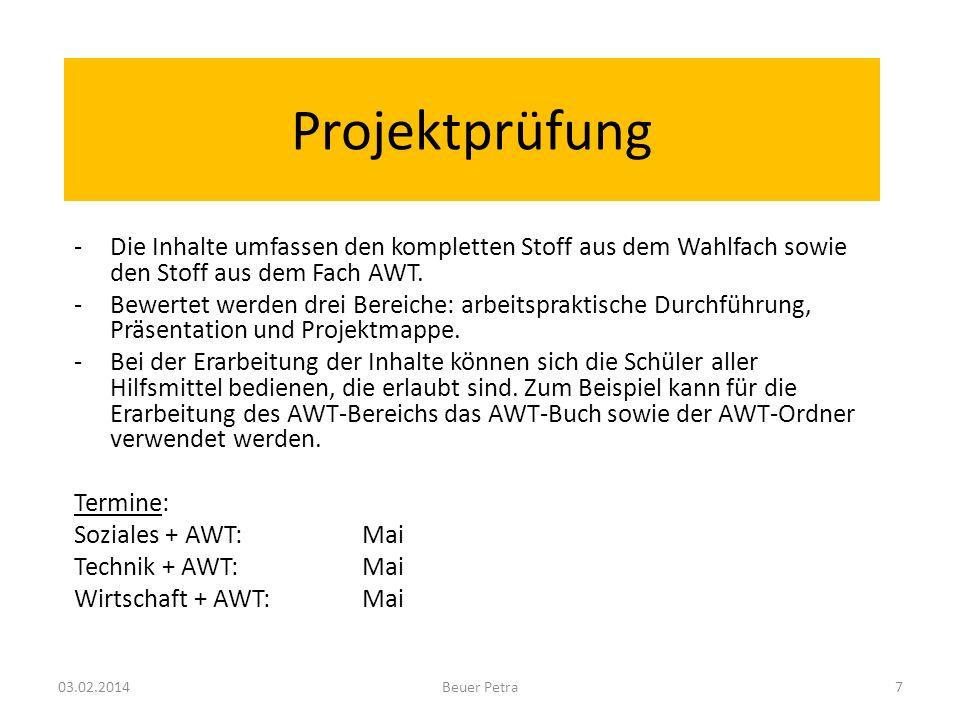 Projektprüfung -Die Inhalte umfassen den kompletten Stoff aus dem Wahlfach sowie den Stoff aus dem Fach AWT.