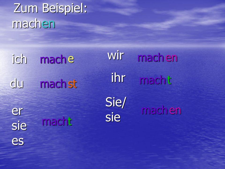 Verben im Präsens Teil I: ich+Verbstamm+e du +Verbstamm+st er, sie, es +Verbstamm+t wir+Verbstamm+en ihr+Verbstamm+t sie/Sie+Verbstamm+en