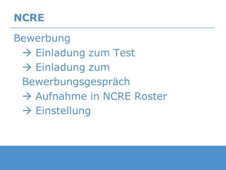 NCRE Bewerbung Einladung zum Test Einladung zum Bewerbungsgespräch Aufnahme in NCRE Roster Einstellung