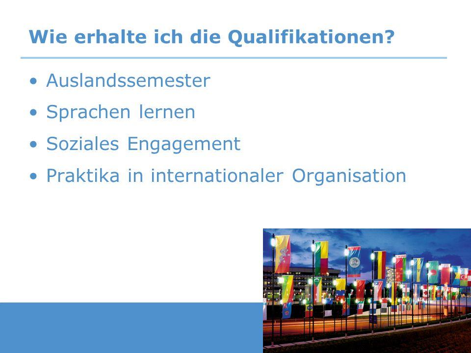 Wie erhalte ich die Qualifikationen? Auslandssemester Sprachen lernen Soziales Engagement Praktika in internationaler Organisation