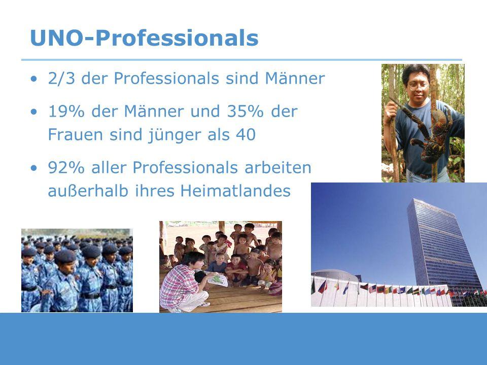 UNO-Professionals 2/3 der Professionals sind Männer 19% der Männer und 35% der Frauen sind jünger als 40 92% aller Professionals arbeiten außerhalb ih