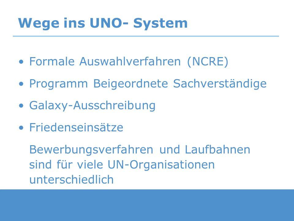 Wege ins UNO- System Formale Auswahlverfahren (NCRE) Programm Beigeordnete Sachverständige Galaxy-Ausschreibung Friedenseinsätze Bewerbungsverfahren u
