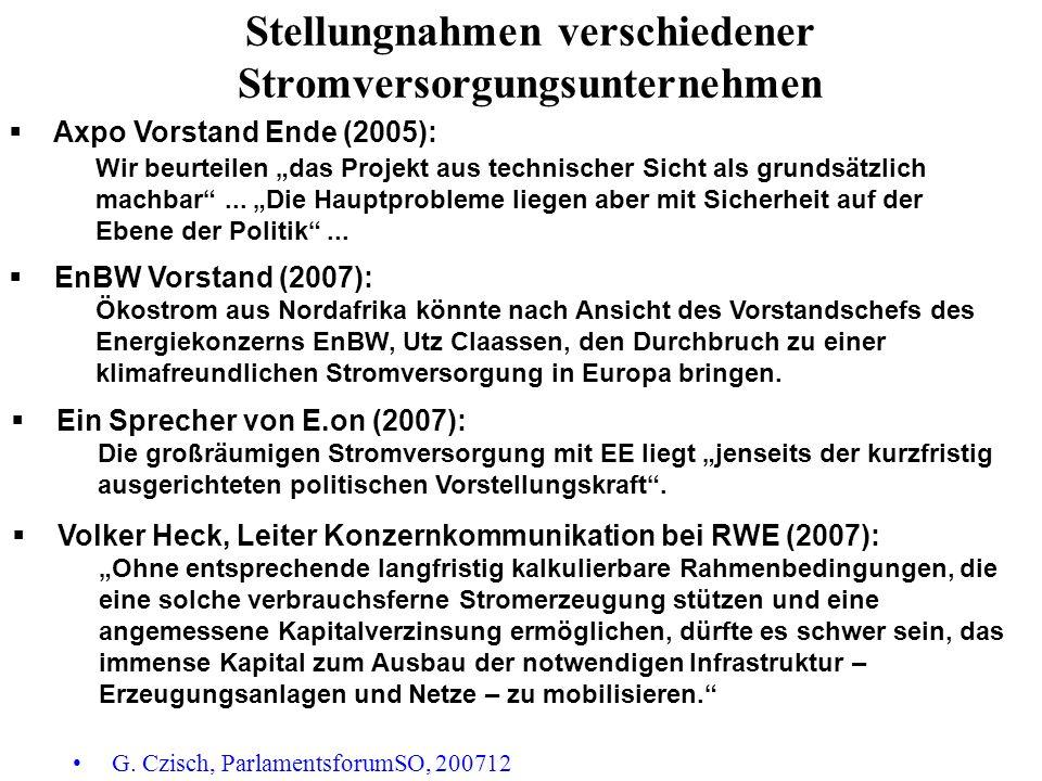 Stellungnahmen verschiedener Stromversorgungsunternehmen G. Czisch, ParlamentsforumSO, 200712 Axpo Vorstand Ende (2005): Wir beurteilen das Projekt au