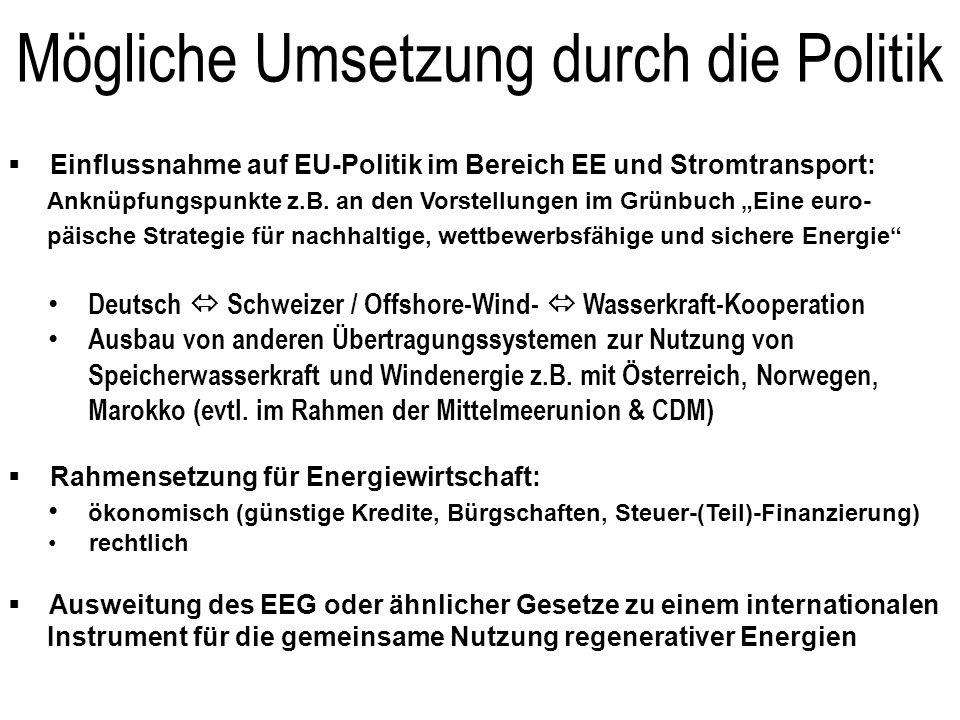 Mögliche Umsetzung durch die Politik Einflussnahme auf EU-Politik im Bereich EE und Stromtransport: Anknüpfungspunkte z.B. an den Vorstellungen im Grü