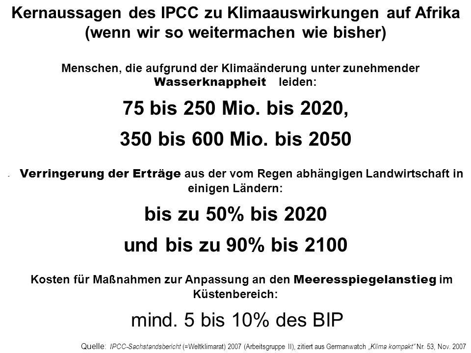 Quelle: IPCC-Sachstandsbericht (=Weltklimarat) 2007 (Arbeitsgruppe II), zitiert aus Germanwatch Klima kompakt Nr. 53, Nov. 2007 Kernaussagen des IPCC
