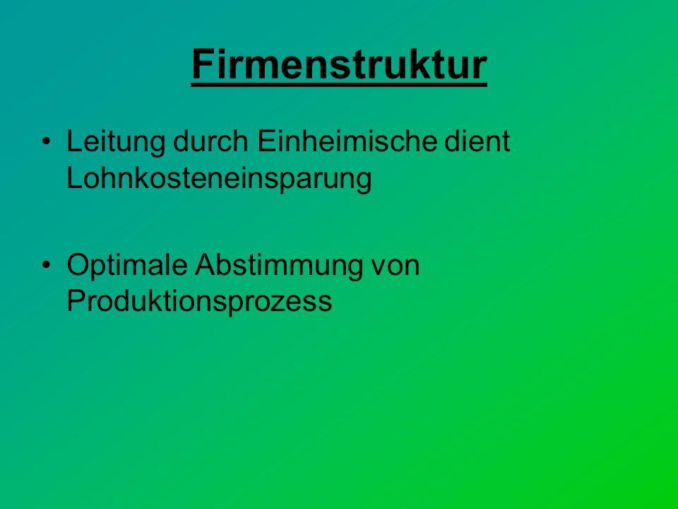 Firmenstruktur Leitung durch Einheimische dient Lohnkosteneinsparung Optimale Abstimmung von Produktionsprozess