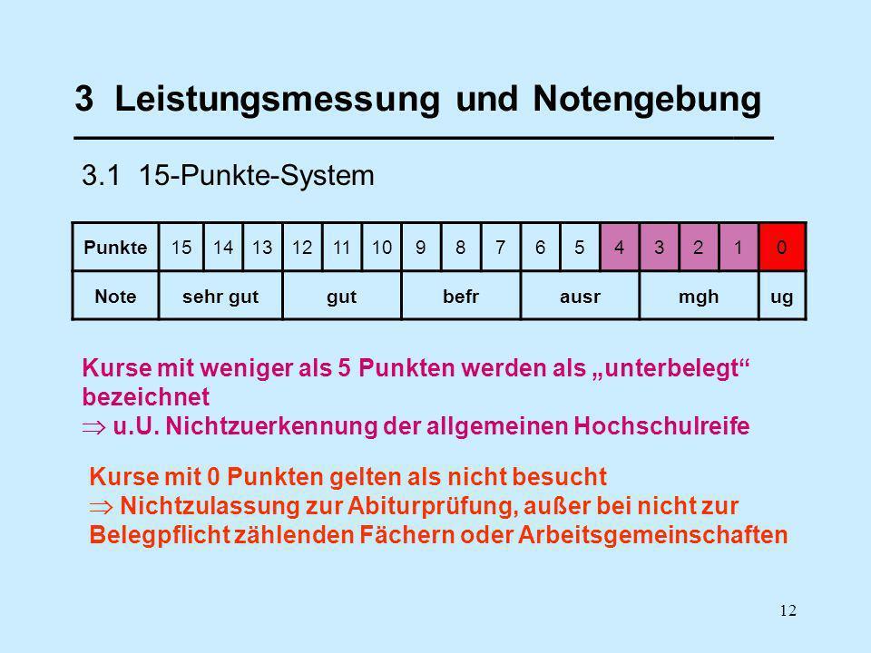 12 3 Leistungsmessung und Notengebung ___________________________________ 3.1 15-Punkte-System Punkte1514131211109876543210 Notesehr gutgutbefrausrmgh