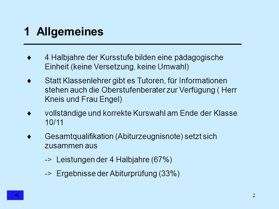 2 1 Allgemeines __________________________________ 4 Halbjahre der Kursstufe bilden eine pädagogische Einheit (keine Versetzung, keine Umwahl) Statt Klassenlehrer gibt es Tutoren, für Informationen stehen auch die Oberstufenberater zur Verfügung ( Herr Kneis und Frau Engel) vollständige und korrekte Kurswahl am Ende der Klasse 10/11 Gesamtqualifikation (Abiturzeugnisnote) setzt sich zusammen aus -> Leistungen der 4 Halbjahre (67%) -> Ergebnisse der Abiturprüfung (33%)